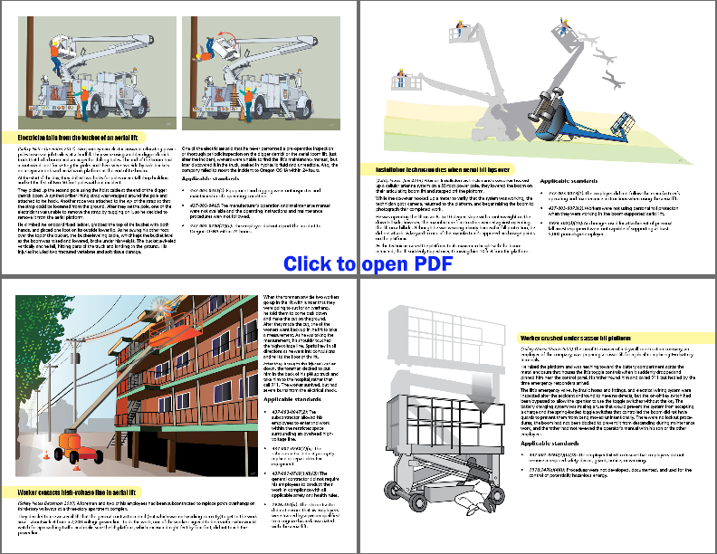 four different injury events involving aerial lifts